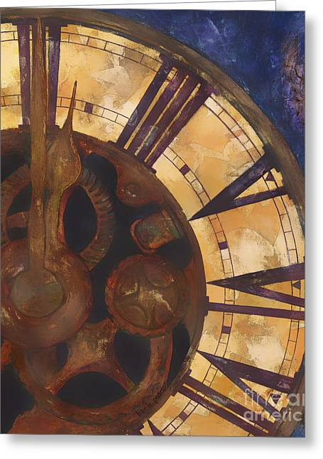 Clock Paintings Greeting Cards - Time Askew Greeting Card by Barb Pearson