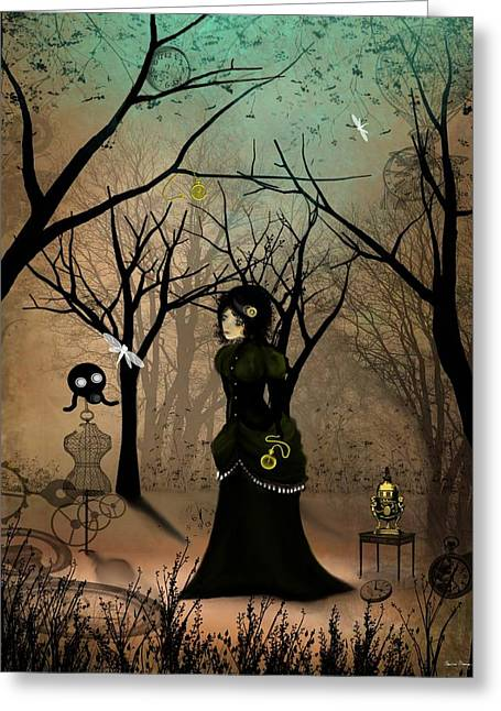 Goth Girl Greeting Cards - Time Greeting Card by Charlene Zatloukal