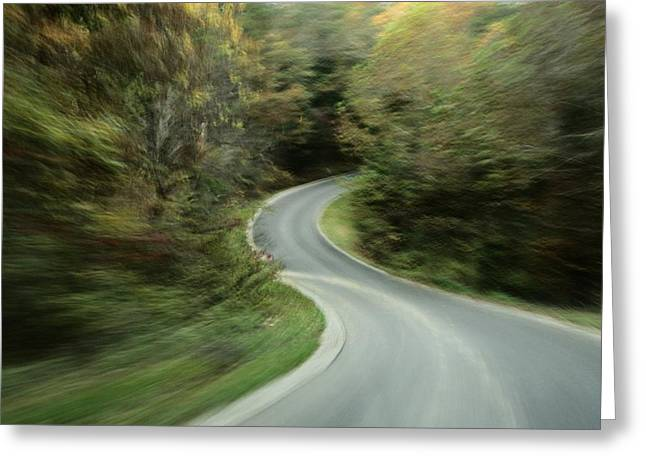 Foliage Image Greeting Cards - Time-exposed View Of Route 49 Taken Greeting Card by Raymond Gehman
