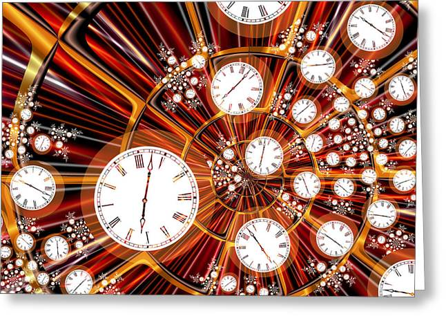 Fractal Art Greeting Cards - Time Flies When Youre Having Fun Greeting Card by Pam Blackstone