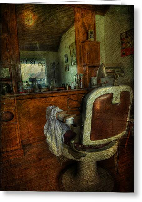 Scissors Greeting Cards - Time for a Cut - Old Barbershop - vintage - nostalgia Greeting Card by Lee Dos Santos