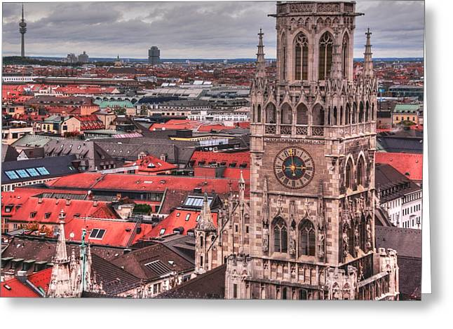 Marienplatz Greeting Cards - Time for Munich Greeting Card by Anthony Citro