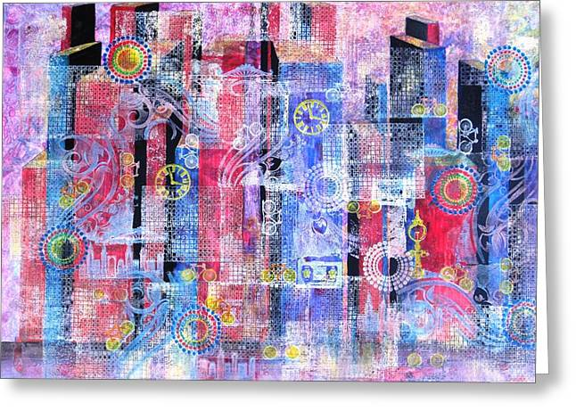 Representative Abstract Mixed Media Greeting Cards - Time in the City Greeting Card by David Raderstorf