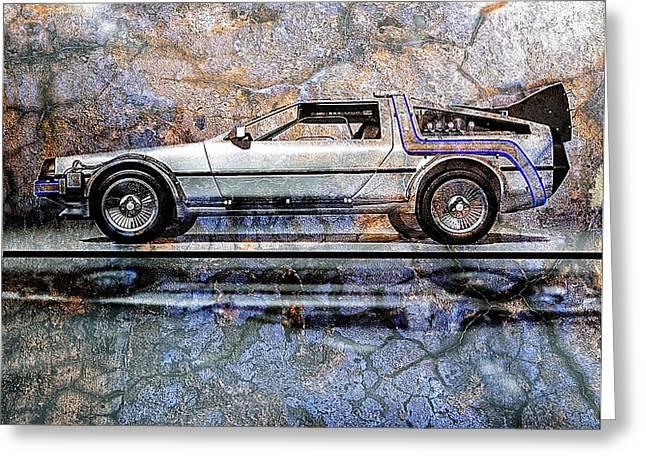Time Machine or The retrofitted DeLorean DMC-12 Greeting Card by Bob Orsillo