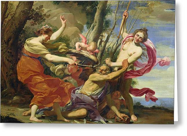 Overcoming Greeting Cards - Time Overcome by Youth and Beauty Greeting Card by Simon Vouet