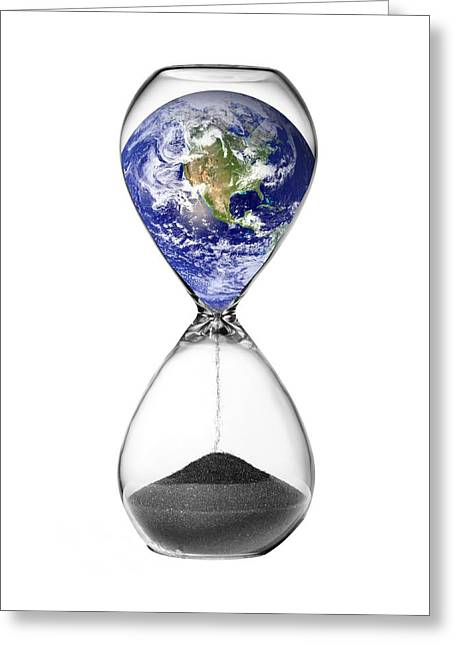 Problem Greeting Cards - Time Running Out For The Earth, Artwork Greeting Card by Victor De Schwanberg