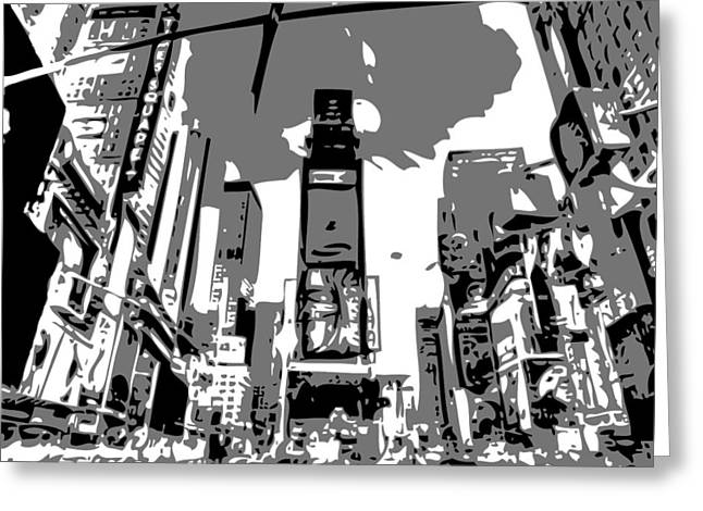 Times Square Digital Art Greeting Cards - Time Square BW3 Greeting Card by Scott Kelley