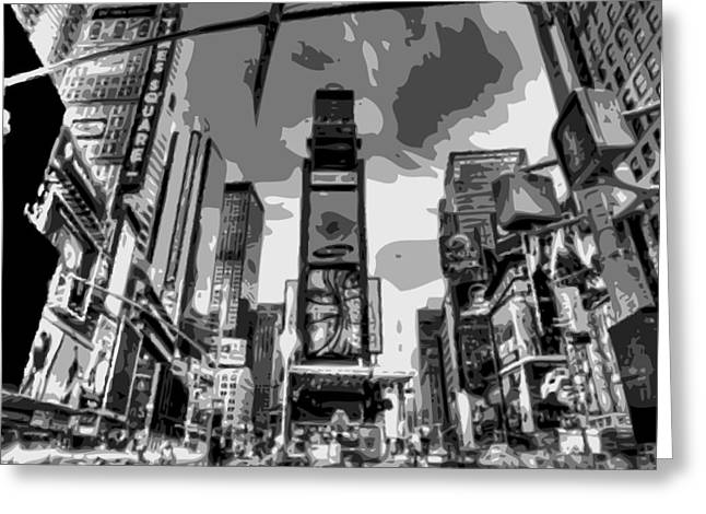 Times Square Digital Art Greeting Cards - Time Square BW6 Greeting Card by Scott Kelley
