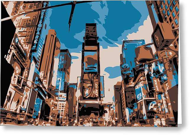 Times Square Digital Art Greeting Cards - Time Square Color 6 Greeting Card by Scott Kelley