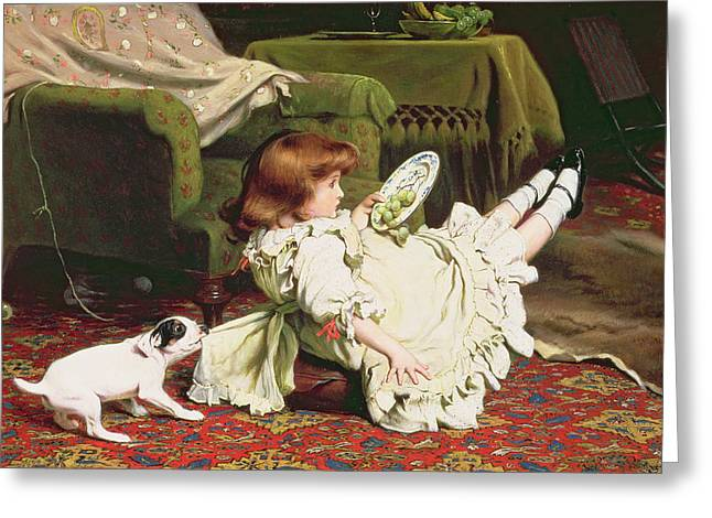 Armchair Greeting Cards - Time to Play Greeting Card by Charles Burton Barber