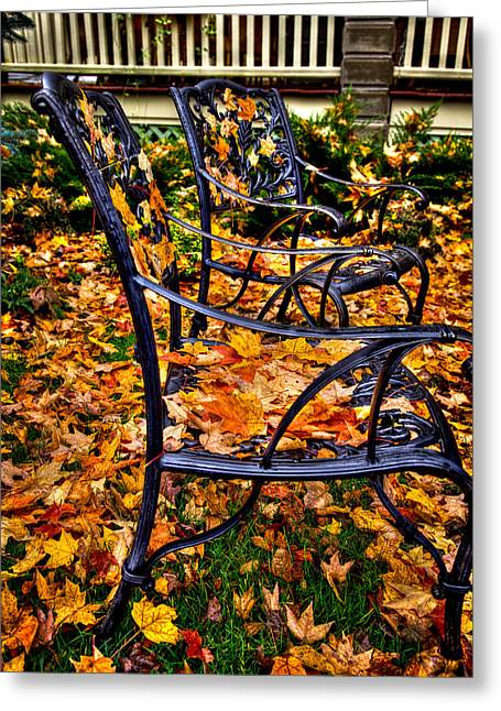 Lawn Chair Greeting Cards - Time to Rake Greeting Card by David Patterson
