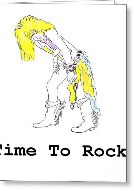 Music Time Drawings Greeting Cards - Time to Rock Greeting Card by Jeannie Atwater Jordan Allen
