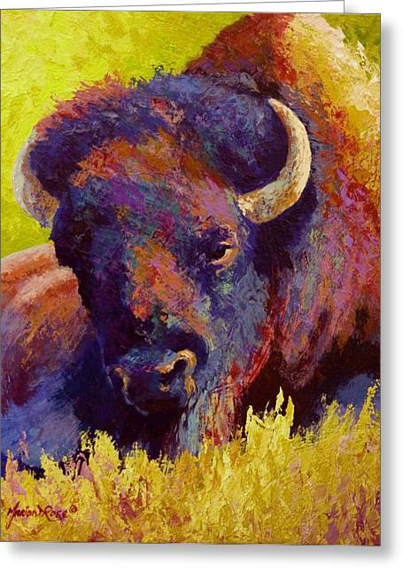 Bison Paintings Greeting Cards - Timeless Spirit - Bison Greeting Card by Marion Rose