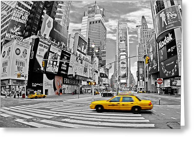 Colorkey Digital Greeting Cards - Times Square - New York Greeting Card by Marcel Schauer