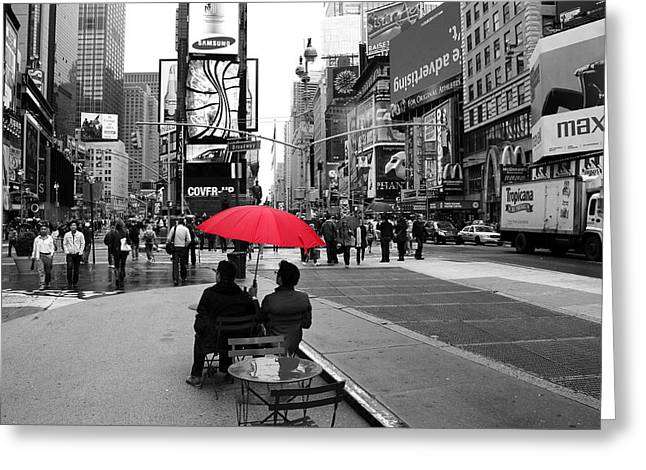 Umbrellas Greeting Cards - Times Square 5 Greeting Card by Andrew Fare