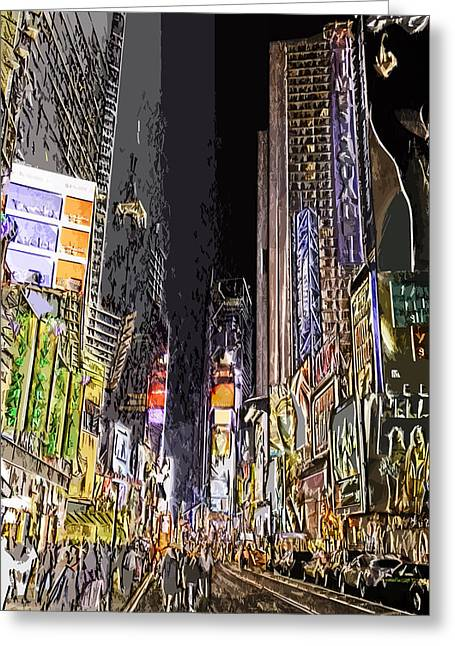 Times Square Digital Art Greeting Cards - Times Square Abstract Greeting Card by Robert Ponzoni
