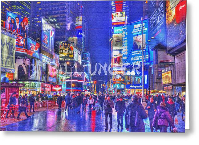 Cityscape Pyrography Greeting Cards - Times Square Greeting Card by Bill Unger