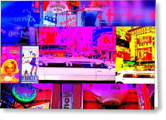 Times Square Digital Art Greeting Cards - Times Square Frenzy Greeting Card by Funkpix Photo Hunter