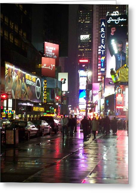 New York City Rain Greeting Cards - Times Square in the rain 1 Greeting Card by Anita Burgermeister
