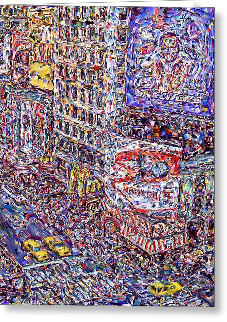 Best Sellers -  - Marilyn Sholin Greeting Cards - Times Square Greeting Card by Marilyn Sholin