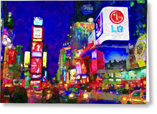 City Buildings Mixed Media Greeting Cards - Times Square Greeting Card by Michael Petrizzo
