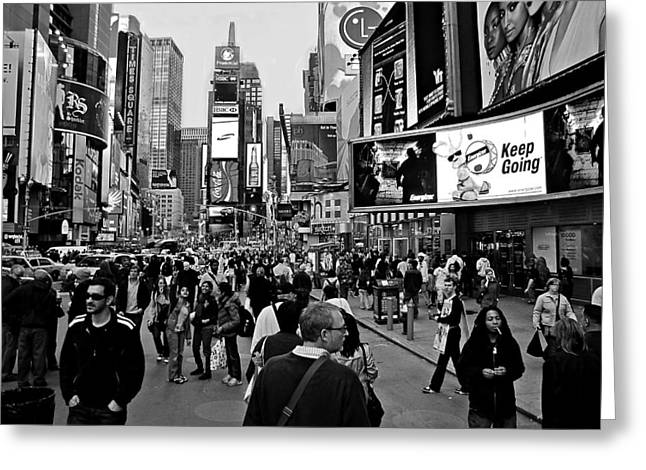 New Yorker Greeting Cards - Times Square New York BW Greeting Card by David Dehner