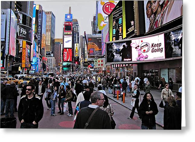 New Yorker Greeting Cards - Times Square New York Greeting Card by David Dehner