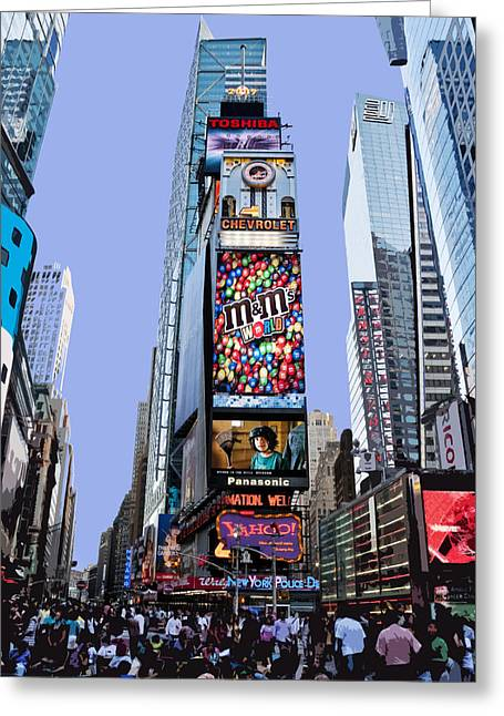 Times Square Digital Art Greeting Cards - Times Square NYC Greeting Card by Kelley King