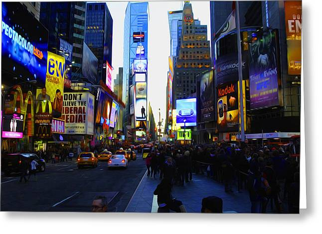 Times Square Nyc Greeting Card by Moz Art