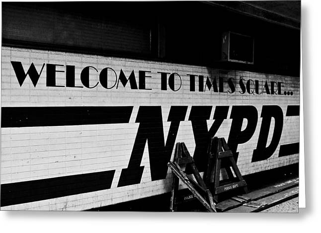 Nypd Greeting Cards - Times Square NYPD Greeting Card by Michael Dorn