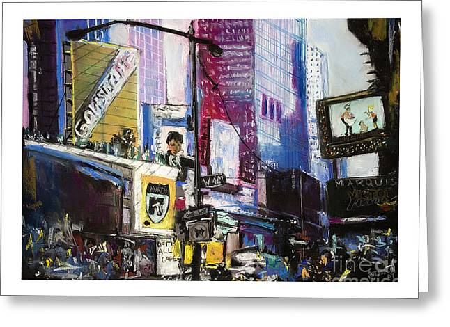 Manhattan Pastels Greeting Cards - Times Square Remembered Greeting Card by Barry Rothstein
