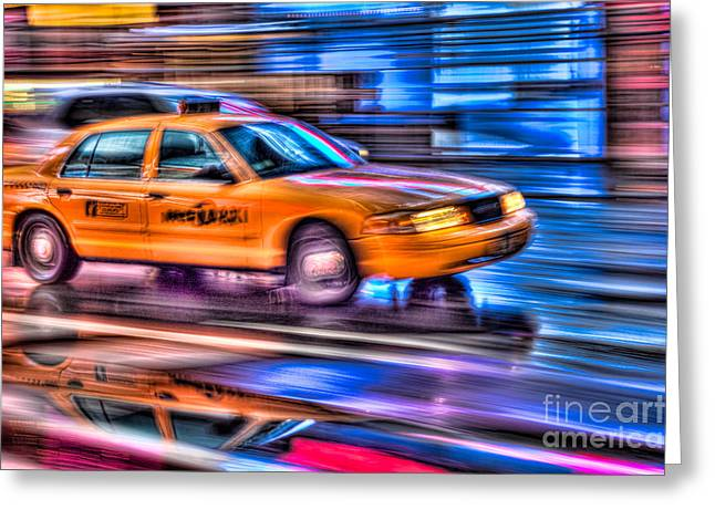 Fast Taxi Greeting Cards - Times Square Taxi III Greeting Card by Clarence Holmes