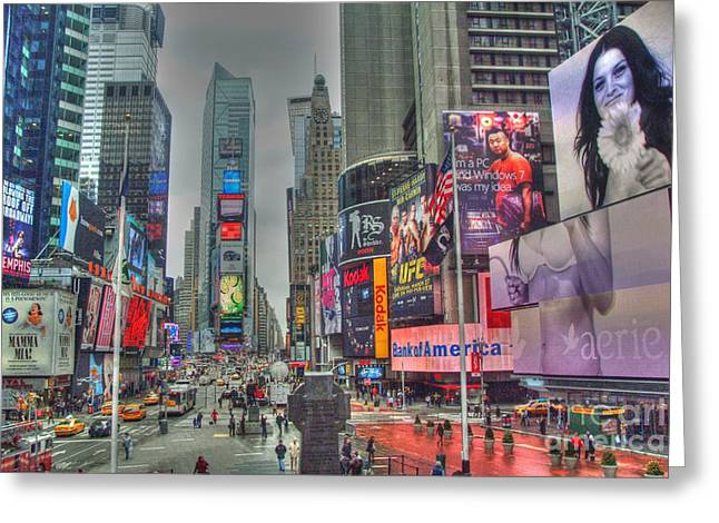 Times Square Digital Art Greeting Cards - New York Times Square Two Greeting Card by Alberta Brown Buller