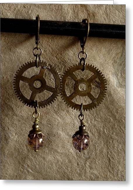 Gold Earrings Greeting Cards - Times Wheel Greeting Card by Jan Brieger-Scranton