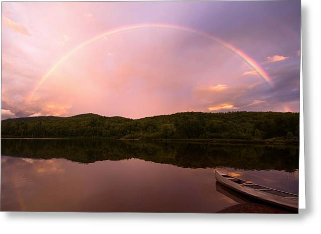 Timing Is Divine Rainbow Over Vermont Mountains Greeting Card by Stephanie McDowell