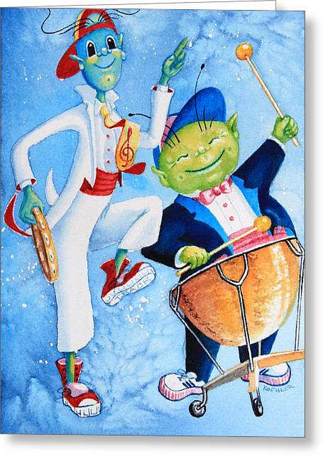 Order Kids Book Illustrations Greeting Cards - Timpani Symphony Greeting Card by Hanne Lore Koehler
