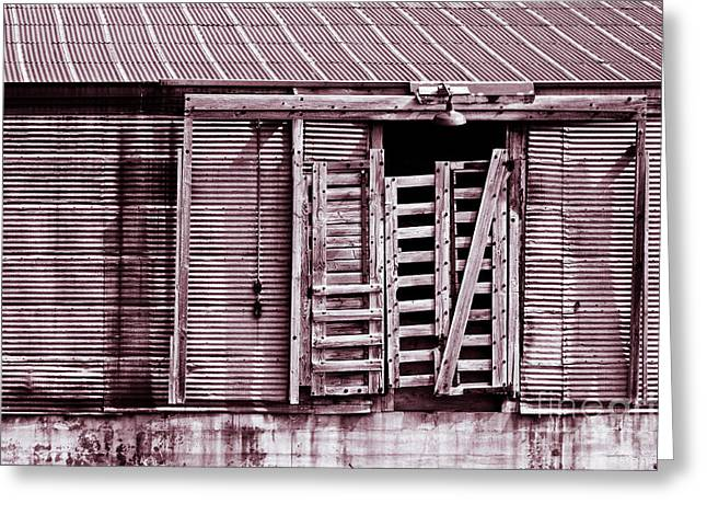 """""""sliding Doors"""" Greeting Cards - Tin Building Greeting Card by Lawrence Burry"""