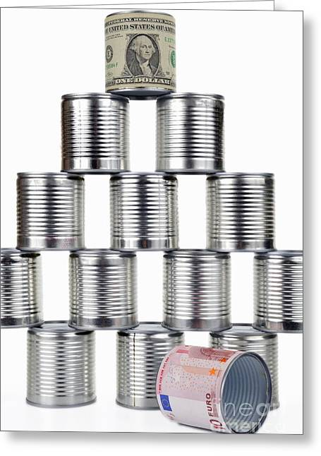 Domination Greeting Cards - Tin can surrounded by US dollar note on top of pyramid Greeting Card by Sami Sarkis