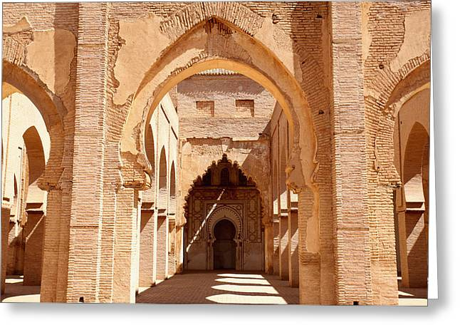 Moroccan Courtyard Greeting Cards - Tin Mal Mosque Greeting Card by Axiom Photographic