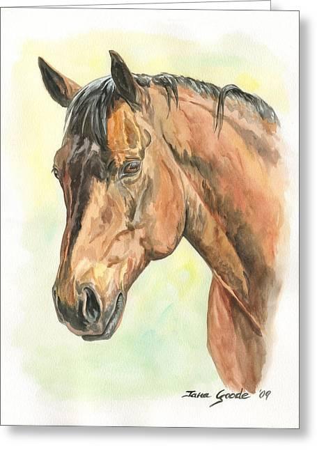 Quarter Horses Greeting Cards - Tinas Mare Greeting Card by Jana Goode