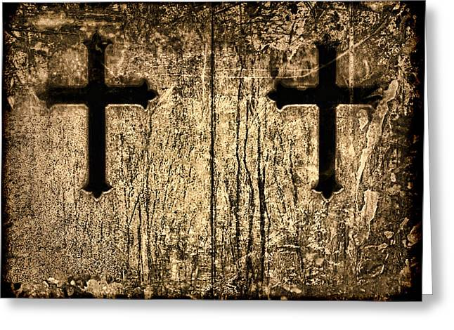 Gothic Cross Greeting Cards - Tinted Sepia Cross Duet Greeting Card by Tony Grider