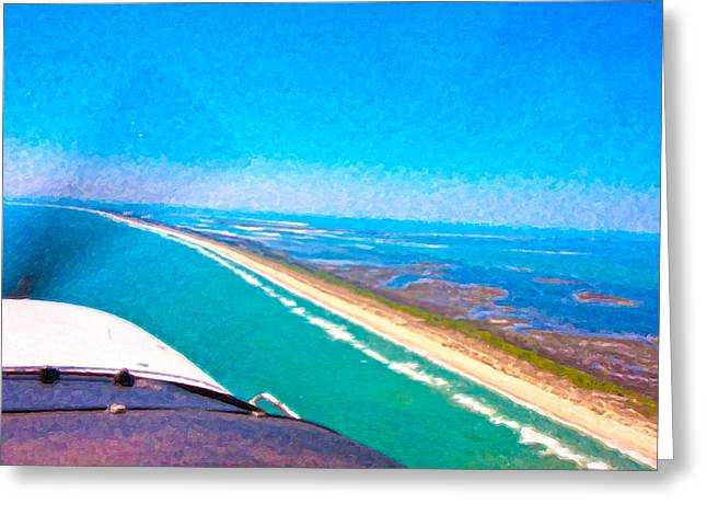 Atlantic Beaches Digital Greeting Cards - Tiny Airplane Big View II Greeting Card by Betsy C  Knapp