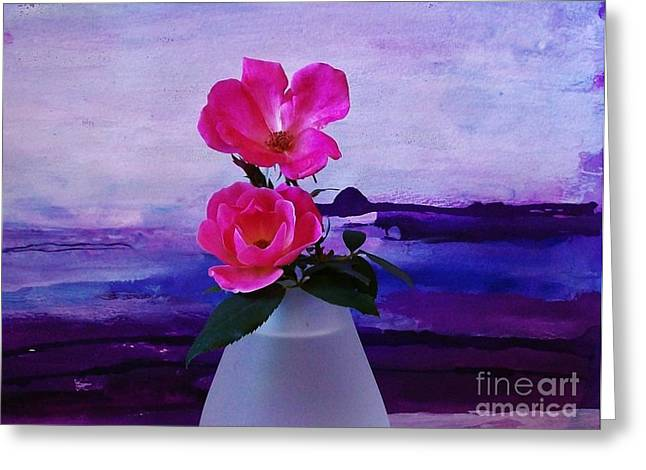 Frosted Glass Greeting Cards - Tiny Rose Bouquet Greeting Card by Marsha Heiken