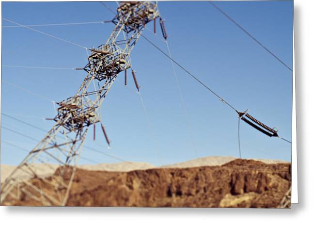Electric Creation Greeting Cards - Tipping Pylon in the Desert Greeting Card by Eddy Joaquim