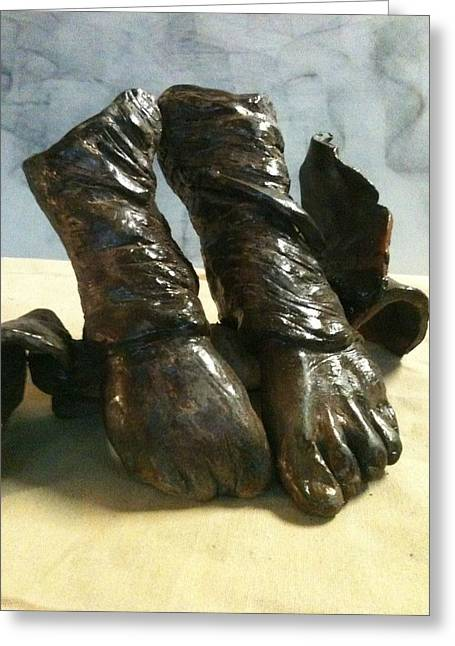 Feet Sculptures Greeting Cards - Tippy Toes Greeting Card by Holly  Suzanne