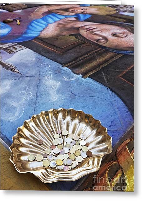 Coin Pictures Greeting Cards - Tips for Street Artists Greeting Card by Jeremy Woodhouse