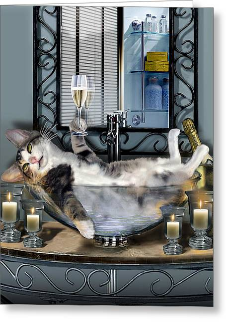 Pampered Greeting Cards - Funny pet print with a tipsy kitty  Greeting Card by Gina Femrite