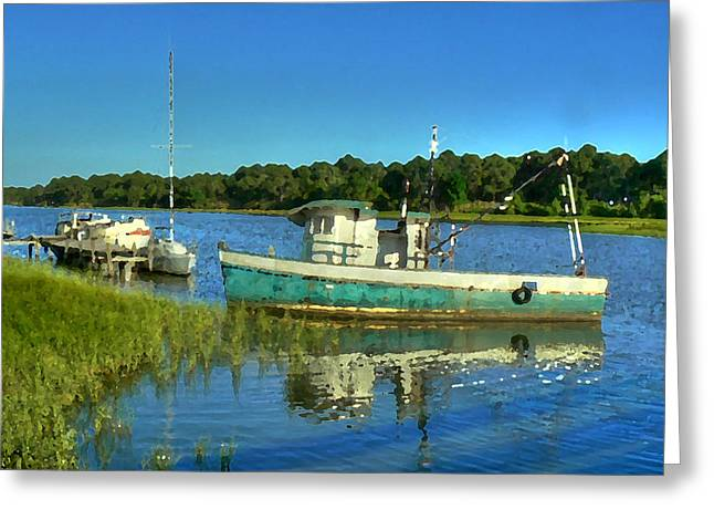 Apalachicola Shrimper Greeting Cards - Tired and Retired Greeting Card by Michael Athorn