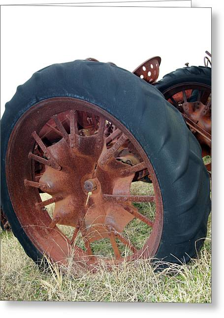 Tractor Tire Greeting Cards - Tired Tractor Greeting Card by Joy Tudor