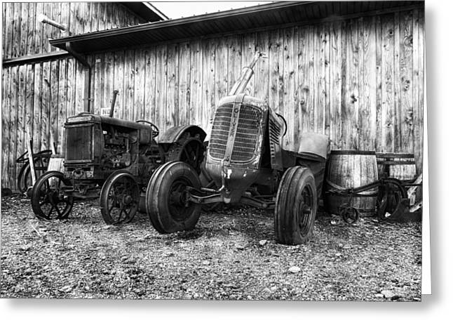Mccormicks Farm Greeting Cards - Tired Tractors BW Greeting Card by Peter Chilelli